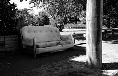 Couch (stephen trinder) Tags: autumn newzealand christchurch blackandwhite monochrome landscape junk waiting sad couch sidewalk sofa nz rubbish rest lonely roadside pause melancholy discarded kiwi cushions dumped christchurchnewzealand stephentrinder stephentrinderphotography
