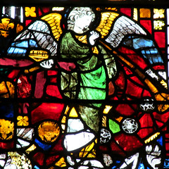 Wells Cathedral - medieval angel (pefkosmad) Tags: uk england detail church window worship cathedral interior wells somerset wellscathedral stainedglass medieval holy middleages fragment vitraux placeofworship hallowedground
