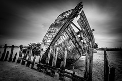 Waiting the last tide (ForgottenMelodies) Tags: urbex urban exploration boat bw black white sea lost decay abandoned pentax k5 cemetery fishing ship old derelict forgotten architecture building indoor france nicolasauvinet