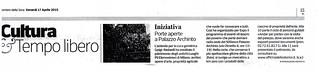 Porte aperte a Palazzo Archinto, estratto dal quotidiano Corriere della Sera di venerdì 17 aprile, rubrica Cultura -Tempo libero