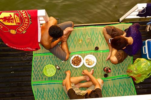Afternoon snack on the house boat on Srinakarin lake in Kanchanaburi province, Thailand