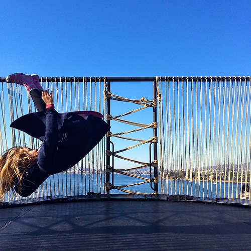 117/365 • Zoe meets @monamuseum • #117_2015 #tasmania2015 #mybirthdayjourney #7yo #trampoline