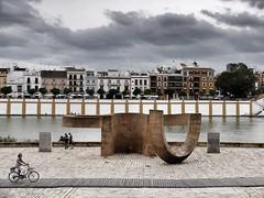 Guadalquivir (Fuji X30) (Berni_Prez) Tags: people cloud bike ro river sevilla guadalquivir gente seville bici nube triana eduardochillida betis monumentoalatolerancia