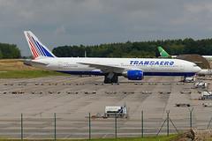 Frankfurt-Hahn, 14July16.01 (Pervez 183A) Tags: airline russian frankfurthahn hhn edfh b777200 transaero boeings