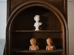 Some busts (BurlapZack) Tags: statue children cabinet furniture antique statues spooky warehouse heads antiques shelves busts curio dallastx pack01 designdistrict vscofilm olympusmzuiko17mmf18 olympusomdem5markii