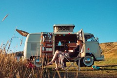 Just sitting pretty (CY2010) Tags: lazy sunshine bulli kombi splitscreen sanddunes beach sunset westfalia volkswagen vw camper splitty boho girl pretty van bus grainy classic retro cy2010