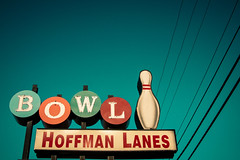 A Slash Is a Spare (hartsaw) Tags: green sign vintage illinois neon teal retro powerlines bowling signage schaumburg lanes hoffmanbowl