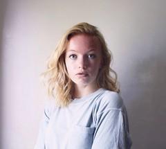 Self (Allie Riley) Tags: blue selfportrait me girl hair grey purple blueeyes gray makeup blonde bland simple plain curlyhair minimalist wavyhair