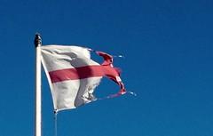 Ingerlund... (jcbkk1956) Tags: england flag stgeorgescross flagpole tattered torn blue sky deal kent uk fluttering wind english