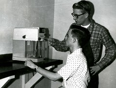 Using a balance to weigh chemicals (PUC Special Collections) Tags: laboratory lab pacificunioncollege chemistrydepartment chemistrylab chemistry beakers test tubes scientist labcoat experiments angwin california adventist sda seventhdayadventist college