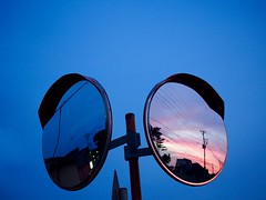 two faces, two tones (murozo) Tags: road mirror evening sky blue