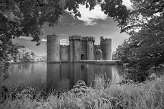Fairytale - Bodiam Castle, East Sussex (binliner) Tags: reflection fairytale mono ancient framed traditional medieval infrared moat nationaltrust eastsussex bodiamcastle