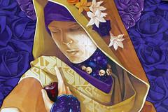 Veiled woman, purple roses - close up of a mural, Paris (Monceau) Tags: veiled woman mural mysterious painting purple gold skulls universe patterns flowers boulevardvincentauriol paris 13tharr odc lotsandlotsofcolor vivid colors