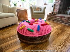 Giant Doughnut (Bitter-Sweet-) Tags: crochet handmade diy stuffed softie huge furniture homemade floorpoof ottoman dogbed donut doughtnut food playfood home housewares twinkiechan crochetabodealamode
