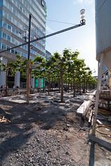 Frankfurt am Main - Sanierung der Zeil, Mai 2009 (CocoChantre) Tags: baustelle bienenkorbhaus deutschland europa frankfurtammain fusgngerzone hessen innenstadt konstablerwache sanierung strase strasenlampe strasenverkehr verkehr welt zeil
