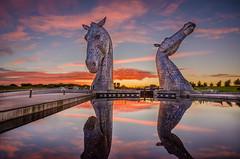 Sunset over the Kelpies (samueljohnkerr) Tags: kelpies thekelpies scotland scottish scottishlandmark sunset grangemouth tourism scottishtourism horsesculpture horsestatue horses statues sculpture metalhorses metalhorse metalsculpture