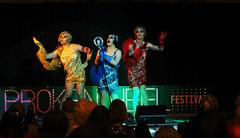 Drag Trio (Kaptain Kobold) Tags: kaptainkobold drag show performance stage brokenheel brokenhill nsw australia frocks red blue yellow
