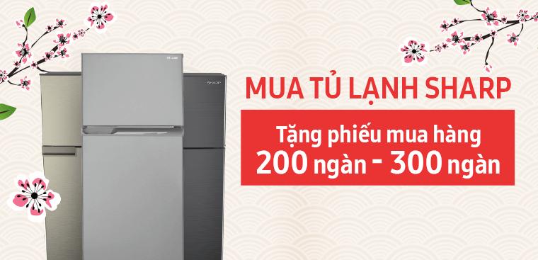 Nhanh tay nhận phiếu mua hàng đến 300,000đ khi mua tủ lạnh Sharp