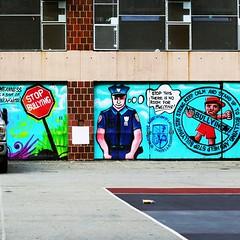 Irony. (lucky_dog) Tags: cop bully irony bullies police ironic mural graffiti schoolyard nyc newyork ny