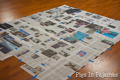 Newspaper base for basting (pigsinpajamas) Tags: neon quilt fabric batting layercake basting backing jellyroll rileyblake