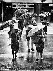 Rain (-Faisal Aljunied - !!) Tags: street blackandwhite bw monochrome rain streetphotography umbrellas iphoneography iphone6 faisalaljunied