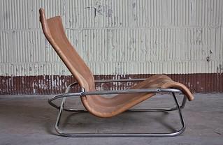 Interesting Vintage Shigeru Uchida Leather and Chrome Low Lounge Chair (Japan, 1970s)