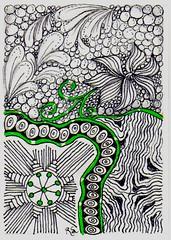 Swap-Pop Of Color-004 (ronniesz) Tags: art atc ink handmade patterns visualarts artisttradingcards doodles swaps penandink tangles linedrawings zentangle zentangleinspiredart