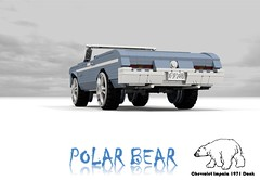 Polar Bear - Chevrolet 1971 Impala Convertible Donk (lego911) Tags: auto bear usa classic chevrolet ice car america 1971 cool model lego render donkey convertible chevy rush polar icy 1970s custom impala fools 90 challenge v8 cad lugnuts povray badonkadonk chev donk moc ldd foolsrushin miniland hiriser lego911