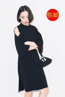 Europa Style Mode schlank lange sexy Carmen-Ausschnitt lange Ärmel Kleid Damenmode Frühjahr Sommer neue 4100