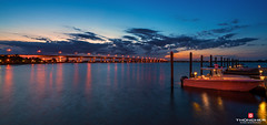 Florida Life: Bridge Of Lights (Thncher Photography) Tags: longexposure sunset sky clouds reflections landscape boats outdoors pier florida sony scenic stuart fullframe fx waterscape indianriver martincounty rooseveltbridge palmcity southeastflorida zeissfe1635mmf4zaoss a7r2 ilce7rm2 sonya7r2