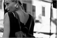 Street portrait (Roberto Spagnoli) Tags: portrait people blackandwhite girl beauty tattoo profile streetphotography streetportrait earrings ritratto biancoenero bellezza ragazza 50mmcanon fotografiadistrada ritrattodistrada