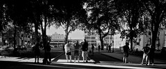 The Court (MattTomas) Tags: portland pdx park outside outdoors blackandwhite contrast shadow light strangers downtown sports bocceball