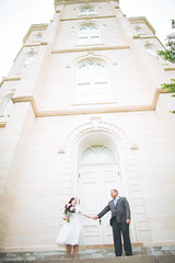 Manti Temple (KieraJo) Tags: wedding 3 love stone architecture canon lens temple photography groom bride utah holding hands angle bokeh mark iii wide l 5d fullframe dslr manti canonef24mmf14liiusm 5d3