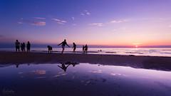 Playfull at Sunset (Curtski22) Tags: blokhus denmark light ocean sea seaside shore silhouette sunset water