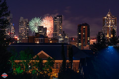Fireworks in Calgary (Rob Moses) Tags: calgary alberta canada yyc building buildings condo apartments school sky fireworks city skyline urban citylife downtown night beautiful pretty awesome amazing beauty wonderful magic a7ii 70200mm 70200 g sony mirrorless