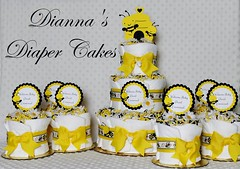 Bees Baby Diaper Cakes Shower Centerpiece (Dianna's Diaper Cakes) Tags: baby diaper cakes shower centerpieces gifts boys girls neutral diannas decoration