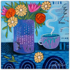 Morning Coffee (Regina Lord (creative kismet)) Tags: art painting bouquet coffee tea table flowers blooms blossoms acrylic