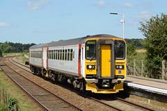 153322 Buckenham 09/08/16 - 153322 and a fellow classmate break the silence at Buckenham station as they lead the 1136 service to Great Yarmouth. (rhayward92) Tags: 153322 buckenham 2c16 abellio greateranglia class 153 sprinter