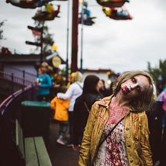 IikWeek - amused at amusement park (mrksaari) Tags: d750 35mmf14g zombie parade amusement park iikweek linnanmki helsinki finland gore horror terror scary square blood