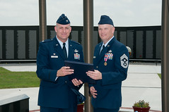 Retirement_21 (vanceafb) Tags: ceremony retirement unitedstates oklahoma enid woodringregionalairport vietnammemorial amanmark commandchief chiefmastersergeant nco airman airmen aviation military pilottraining airforce 19thairforce aireducationandtrainingcommand 71stflyingtrainingwing heritage customs jamesdarren commander colonel chief endoftour award