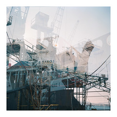 010_11 (jimbonzo079) Tags: tlr medium format 6x6 square analog 120 negative kodak portra 160 rolleicord film art steel new port harbor harbour marine maritime naval ship vessel boat work day color colour utm retro vintage europe industry industrial world engineering shipyard drydock dock hellas greek perama piraeus greece metal frame attiki mv nissos samos ferry roro passenger scan analoq  2016 crane double exposure portra160 newportra160 kodakportra160 newkodakportra160