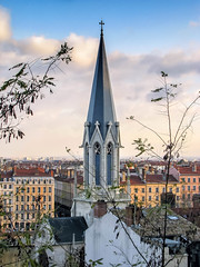 Église Saint-Georges belfry in Lyon (*Checco*) Tags: ancient architecture beautiful belfry bell blue building cathedral catholic christian christianity church city cityscape cross culture eglise europe european exterior france gothic heritage high historic historical history landmark landscape lyon medieval monument nobody old outdoor picturesque religion religious saintgeorges scenic sky steeple sunny temple tourism tower urban vertical view window worship