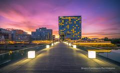 Dsseldorf Medienhafen sunset (.Markus Landsmann) Tags: architektur dsseldorf medienhafen longtimeexposure skyline architecture fineart cityscape sunset sky pentax k5 markuslandsmann nd graufilter