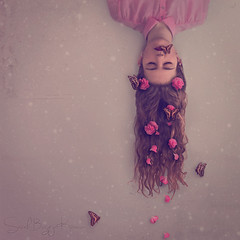 Rush of Blood to the Head (Sarah-BK) Tags: pink flowers portrait art photoshop self canon butterfly 50mm petals blood soft coldplay head fine butterflies down gravity rush conceptual delicate upside gentle 600d