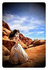 Las Vegas (RedandJonny) Tags: vegas wedding red girl beautiful star bride starwars cool rocks pretty dress desert geek lasvegas parasol stormtrooper jonny wars weddingdress geekgirl prettydress redrockscanyon tattooine redandjonny starwarsgirl