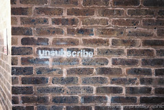 Day 61 - Unsubscribe (Mindori Photographic) Tags: streetart brick film wall analog graffiti bricks 365 analogue miranda fujisuperia400 unsubscribe project365 filmisnotdead 365days mirandaax mirandacameras