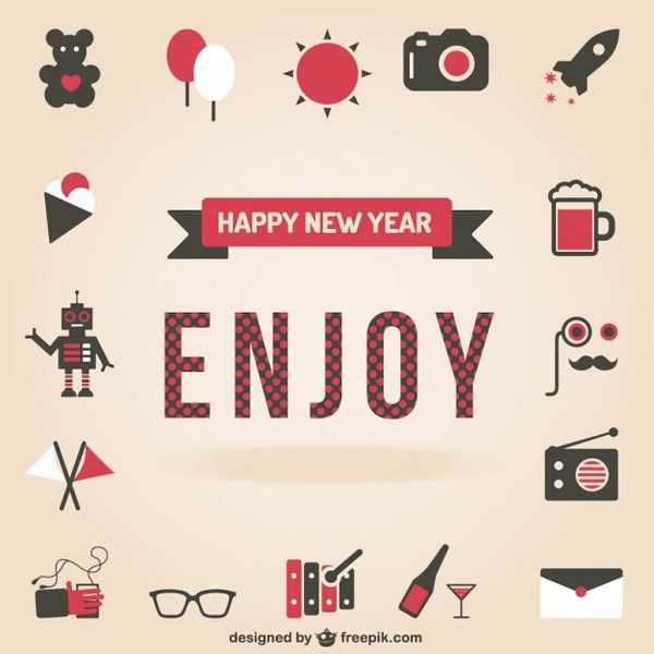 Happy New Year Set of Icons Free Vector