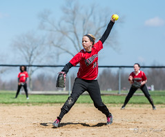 Softball pitcher (rikki480) Tags: school girls field ball high indiana softball windup mound pitcher bishop throw fortwayne luers hessencassel