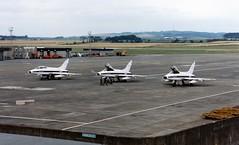3 x F-100 Super Sabre N414FS, N415FS and N419FS at Prestwick August 11th 1987. (Ayronautica) Tags: 1987 aviation f100 august scanned prestwick pik northamerican supersabre egpk classicjet flightsystems northamericanf100supersabre n419fs n415fs n414fs ayronautica