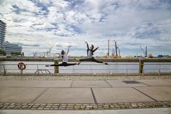 (AndreaKamal.com) Tags: hafencity hamburg germany ballett balett hamburgballett streetart streetdance streetbalett art jump photography elbe marcopolotower
